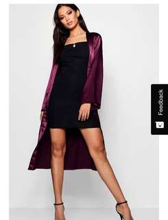 Belted collarless satin duster