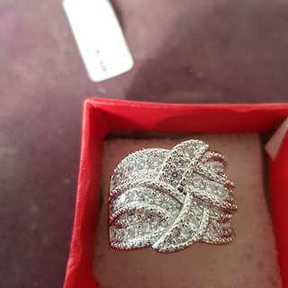 Austrian cz crystal sterling silver ring size 9 (in stock now)