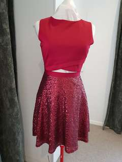 ASOS Red Sequin Dress with cutout Size UK 12