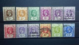 Ceylon stamps 1911 - 1921 King George V set of 12 pcs
