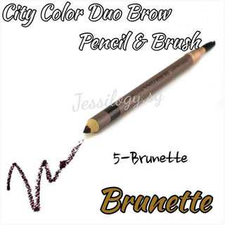 INSTOCK City Colors Duo Brow Pencil With Brush / City Color Duo Eyebrow Pencil And Brush In 05 BRUNETTE