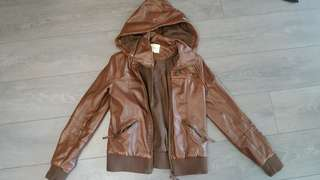 Urban Outfitters brown faux leather hooded jacket