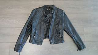 H&M black faux leather jacket