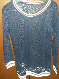 Redgirl Navy Blue Crochette long sleeve