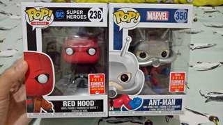 Funko pop Redhood and Classic Antman SDCC Shared Exclusive