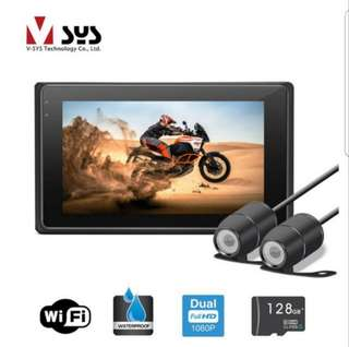 VSYS M2F FHD Motorcycle Front and Rear Cameras with Wifi to handphone connectivity. Stock all in and available.
