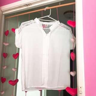 White Detailed Short-Sleeve Blouse