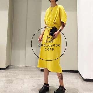ioz 韓著素面綁帶圓領短袖長T衣裙 黃白