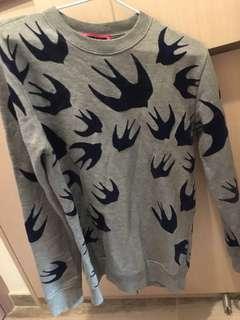 McQueen燕子藍色灰色底衛衣