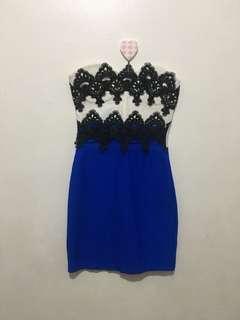 Tube Dress (Blue/White/Black)