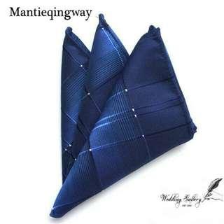 Pocket square handkerchief sapu tangan jas navy motif import garis