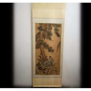 [舊時光]松陰高士圖 友人館藏精品 張宗蒼人物畫 手繪畫卷 掛軸