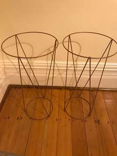 2x Copper Coloured Plant Stands