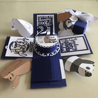 Webare explosion box with cake , 4 waterfall in navy & white