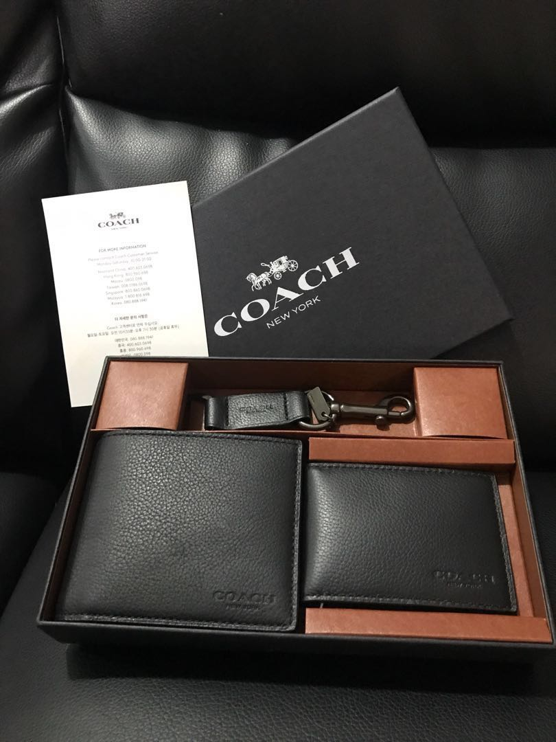 e044c0bfe8496 coupon for coach compact id wallet in gift set dark saddle averand f1b87  e8b0f  uk 100 authentic coach men wallet gift set mens fashion bags wallets  wallets ...