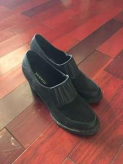 🚚 粗跟 拼接 高跟 踝靴