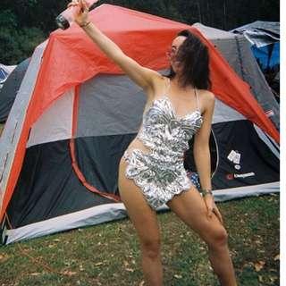Silver sequin backless festival dress