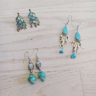 Silver & Turquoise Earring Bundle