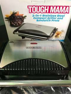 2in1 stainless steel compact griller and sandwich press