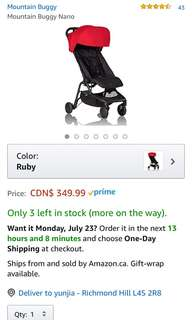 Brand new Mountain buggy nano stroller red