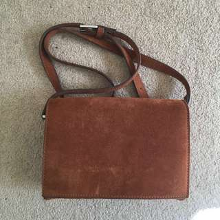 Ganni Asuka tan suede shoulder bag
