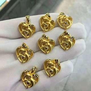 足金金飾999硬金真金24k吊墜 ($480/g) Gold Pendant