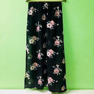 H&M black floral sheer maxi skirt