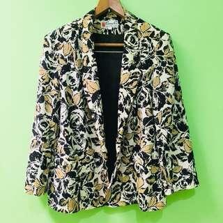 Beige & black floral blazer