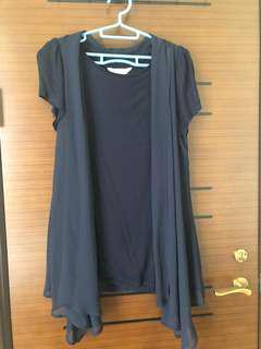 🚚 Kiki 2件式罩衫/深藍/XL