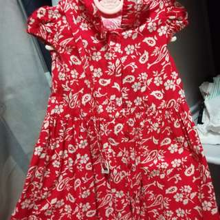 Red floral Dress with belt
