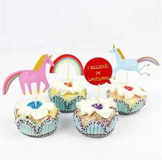 12 pcs Unicorn 🦄 Cupcake Topper Cake Toppers Birthday Party Decoration Baking Picks Rainbow