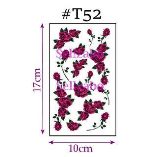 #T52 Fake Temporary Body Tattoo Stickers Washable Wash Off Print Sellzabo Patterns Designs Tatoo Tatto Tattoo Accessories Red Colour Rose Roses Flowers Flowers