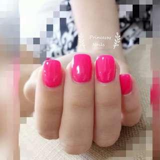 Bright pink gel nail 💅