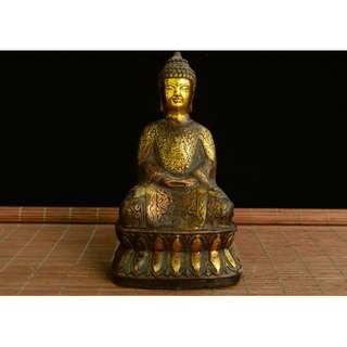 大日如來佛像 供奉佛像 古銅制 滿身佛紋 家中供奉