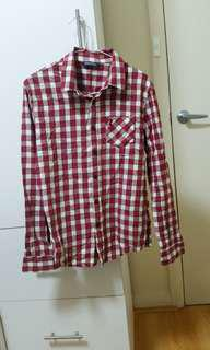 Red checkered button up