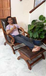 Teak and Leather Lazy Chair with Ottoman