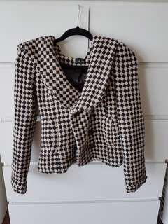 Black & White Check Hooded Jacket Bardot Size 8