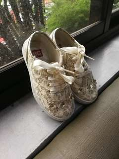 Golden lacey sneakers