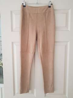 Tan Suede pants/leggings Size 8
