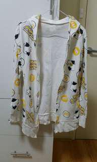 White hoodie with yellow cow prints