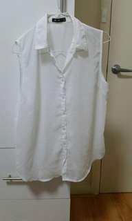 White sheer button up