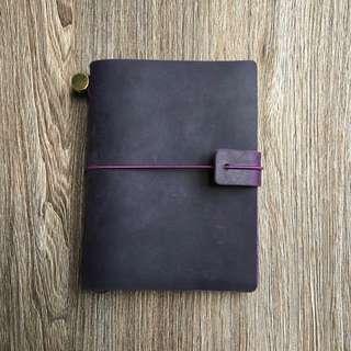 [INSTOCKS]  Real Leather🍇Grape Purple Midori Styled Traveler's Notebook, Planner, Journal, Diary [Economic Version] PASSPORT SIZED