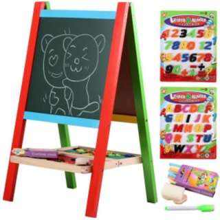 Wooden Portable 2-in-1 Blackboard and Whiteboard Easel Set