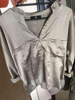 Missguided Khaki Satin Top