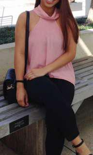 Pink high neck top