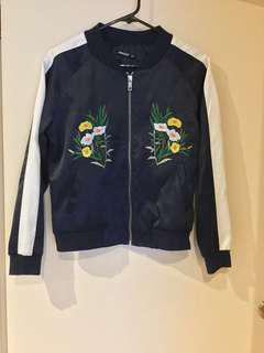 Navy silk embroidered bomber jacket