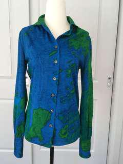 Vintage 80's Blue and Green Blouse