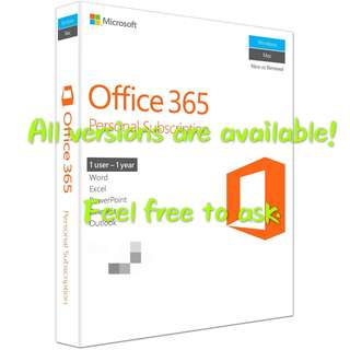 Microsoft office 365 for 5 Pc/Mac for 1 year