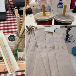 Bamboo Straw + Cleaning Brush + Pouch (made in M'sia)