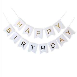 (Ins) Happy Birthday Cake Banner in White